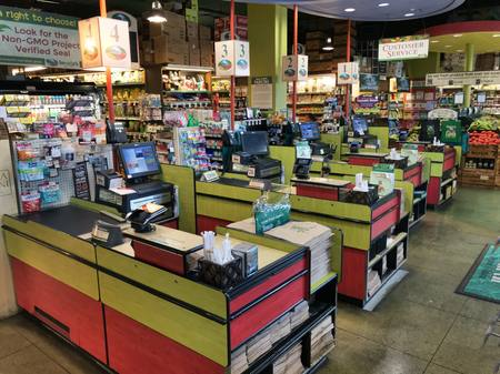 Photo: Check-out registers at Down to Earth Honolulu
