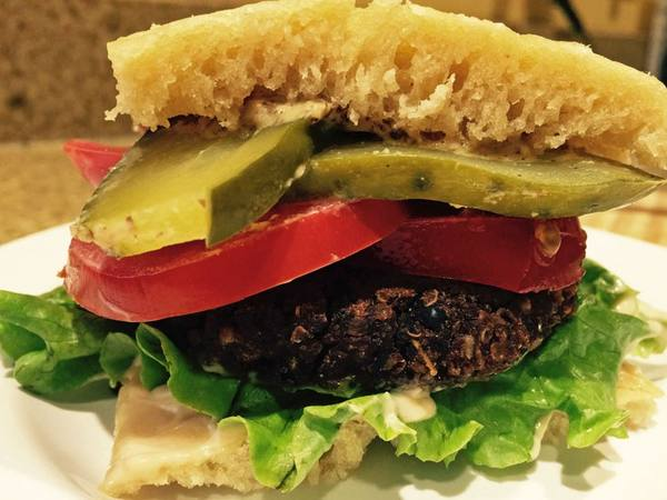 Photo: Black Bean Burger with Pickles, Tomato and Lettuce