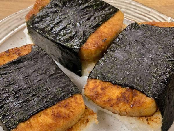 Photo: Easy Vegan Smokey Musubis arranged on a plate